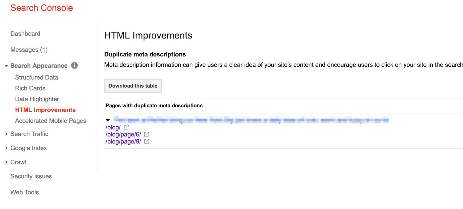 google search console html improvements pagination
