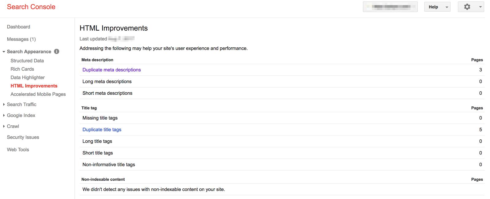 google search console html improvements
