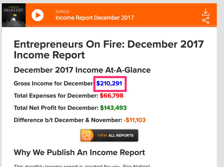 Entrepreneurs On Fire December 2017 Income Report 1