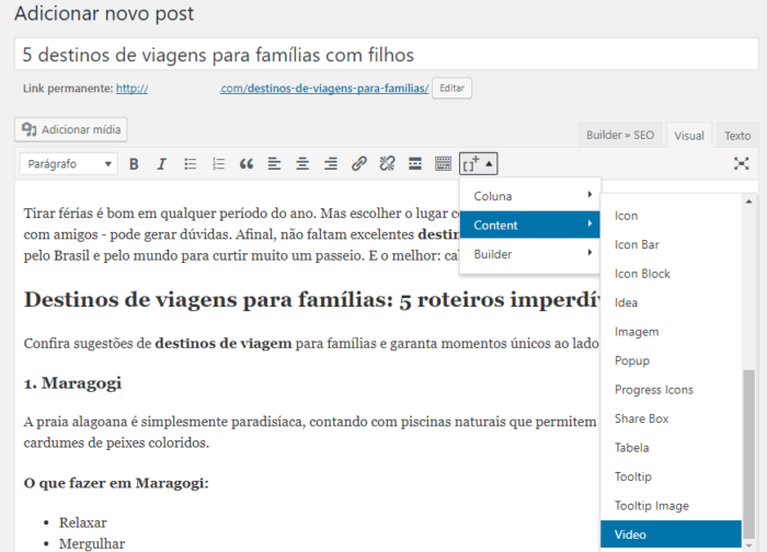 inserção de vídeo no wordpress